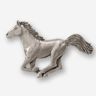 D44320 Galloping Horse Left Pewter Drawer Pull Gg