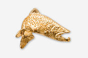 #126AG - Jumping Brown Trout 24K Gold Plated Pin