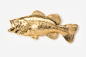 #140G - Left facing Largemouth Bass 24K Gold Plated Pin
