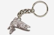#K126A - Jumping Brown Trout Antiqued Pewter Keychain
