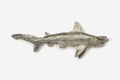 #251 - Hammerhead Shark Antiqued Pewter Pin