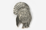 #326B - 3/4 Front View Strutting Turkey Antiqued Pewter Pin