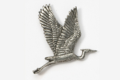 #345A - Flying Heron Antiqued Pewter Pin