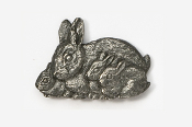 #412A - Rabbit Family Antiqued Pewter Pin