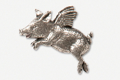#446A - Flying Piggie Antiqued Pewter Pin