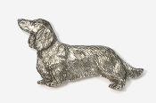 #462A - Long Hair Dachshund Antiqued Pewter Pin