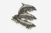 #475B - Dolphin / Porpoise Trio Antiqued Pewter Pin