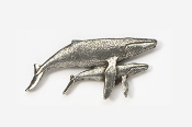 #485 - Humpback Whale & Calf Antiqued Pewter Pin