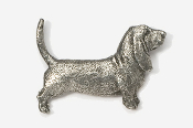 #855 - Basset Hound Antiqued Pewter Pin