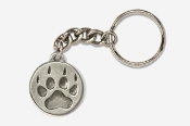 #K450F - Paw Print Antiqued Pewter Keychain