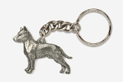 #K460A - Amstaff Terrier Antiqued Pewter Keychain