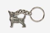 #K860 - Smooth Chihuahua Antiqued Pewter Keychain