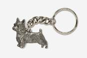 #K874 - Silky Terrier Antiqued Pewter Keychain