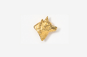 #TT429G - Right Facing Wolf Head 24K Plated Tie Tac