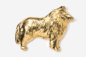 #458CG - Collie 24K Gold Plated Pin