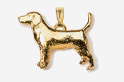 #P453G - Beagle 24K Gold Plated Pendant