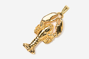 #P530AG - Top View Lobster 24K Gold Plated Pendant