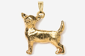 #P860G - Smooth Chihuahua 24K Gold Plated Pendant