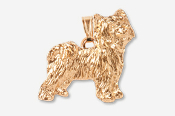 #P880AG - Powder Puff Chinese Crested 24K Gold Plated Pendant