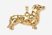 #P462G - Smooth Dachshund 24K Gold Plated Pendant