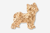 #880AG - Powder Puff Chinese Crested 24K Gold Plated Pin
