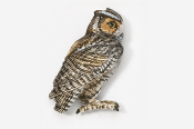 #362P - Screech Owl Hand Painted Pin