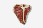 #690P - T-Bone Steak Hand Painted Pin