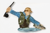 #910P - Fly Fisherman Hand Painted Pin