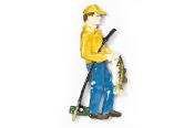 #911P - Bass Fisherman Hand Painted Pin