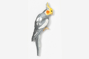 #355AP-G - Gray Cockatiel Hand Painted Pin
