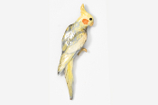 #355AP-YG - Yellow Gray Cockatiel Hand Painted Pin