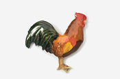 #380P-R - Red Rooster Hand Painted Pin