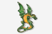 #650P-G - Green Dragon Hand Painted Pin