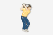 #904P-Y - Yellow Shirt Golfer Hand Painted Pin