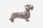 #462B - Wire Hair Dachshund Antiqued Pewter Pin