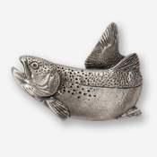 #D12300 - Jumping Rainbow Trout (tail up) Pewter Drawer Pull