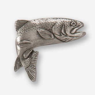 #D12310 - Jumping Rainbow Trout (right) Pewter Drawer Pull