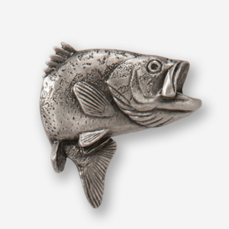 #D14100 - Jumping Largemouth Bass (right) Pewter Drawer Pull