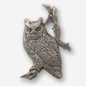 #D36020 - Great Horned Owl & Moon Pewter Drawer Pull