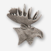 #D43310 - Moose Head (right) Pewter Drawer Pull