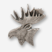 #D43320 - Moose Head (left) Pewter Drawer Pull