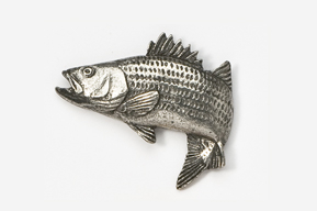 #207A - Jumping Striper / Striped Bass Antiqued Pewter Pin