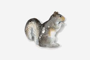#419P-G - Gray Squirrel Hand Painted Pin