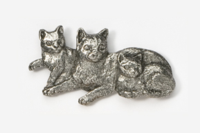 #439A - Cat & Kittens Antiqued Pewter Pin