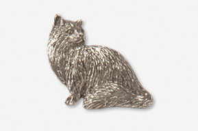 #439C - Sitting Longhair Cat Antiqued Pewter Pin