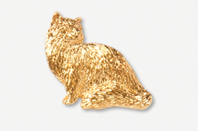 #439CG - Sitting Longhair Cat 24K Gold Plated Pin