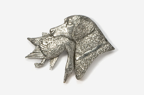 #450C - Labrador Retriever with Duck Antiqued Pewter Pin