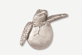 #607A - Hatchling Sea Turtle  Antiqued Pewter Pin