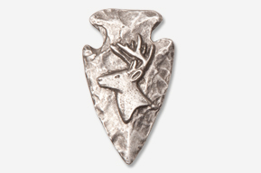 #702I - Arrowhead & Side Buck Head Antiqued Pewter Pin
