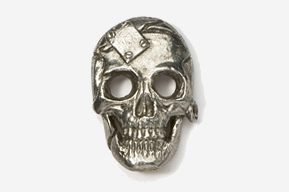 #805 - Metal Plate Skull Antiqued Pewter Pin